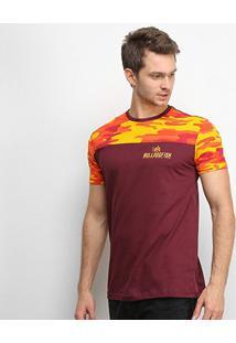 Camiseta Bulldog Fish Camuflagem Masculina - Masculino-Vinho