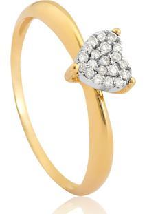 Anel De Ouro 18K Coração Com Diamantes Rodinados-Coleção Cuore