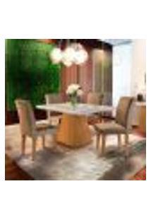 Conjunto De Mesa De Jantar Luna Com Tampo De Vidro Off White E 4 Cadeiras Grécia Suede Chocolate E Imbuia