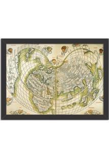 Quadro Decorativo Antigo Mapa Mundi Preto - Médio