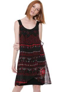 Vestido Desigual Curto Estampado Preto/Vermelho
