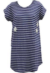Camisola Listrada Mari M Lingerie Azul