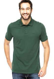 Camisa Polo Manga Curta Aleatory Bordado Fenda Verde