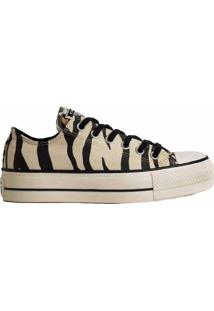 Tênis Converse All Star Chuck Animal Print Platform Lift Bege Preto Ct13620001 - Kanui