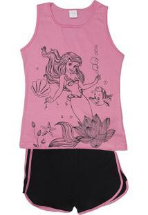 Short Doll Ariel® Com Recortes- Rosa & Pretaevanilda