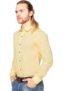 Camisa Linho Sergio K Bordado Amarela