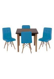 Conjunto Mesa De Jantar Luiza 80Cm Preta Com 4 Cadeiras Gomos - Turquesa