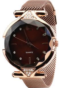 Relógio Magnético Feminino Com Brilho Rosa - Tricae
