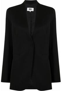 Mm6 Maison Margiela Collarless Tailored Blazer - Preto