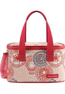 Bolsa Térmica Com Alça- Salmão & Vermelha- 13X21,5X1Jacki Design
