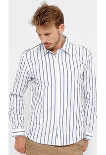 Camisa Blue Bay Listras Manga Longa Masculina - Masculino