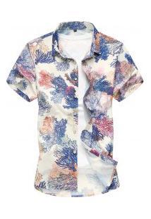 Camisa Masculina Summer Estampado - Azul