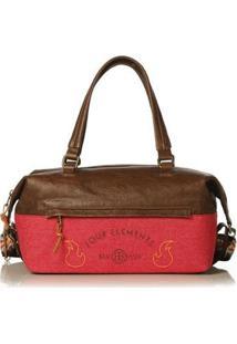 Bolsa Blue Bags Bowling Bordado Terra Feminina - Feminino-Marrom+Vermelho