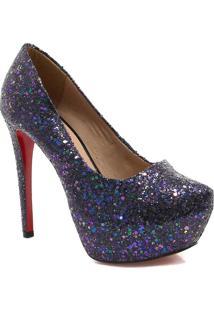 Sapato Zariff Shoes Pump Salto Fino Glitter Preto