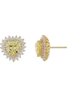 Brinco Narcizza Semijoias Coração Citrino Cravejado Com Micro Zircônia Cristal - Ouro