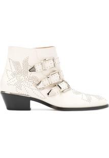 Chloé Ankle Boot 'Susanna' De Couro - Branco