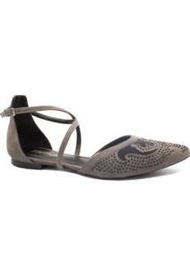 Sapatilha Zariff Shoes Fivela Pedras Feminina - Feminino-Cinza