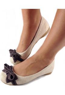 Sapatilha Likka Calçados Palha Laço Bege/Marrom