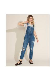 Macacão Jeans Feminino Destroyed Com Bolsos Azul Escuro