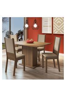 Conjunto Sala De Jantar Madesa Bia Mesa Tampo De Madeira Com 4 Cadeiras Marrom