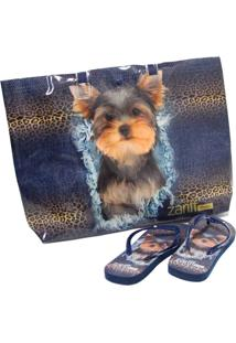 Kit Chinelo Zariff Shoes Animais + Bolsa Azul