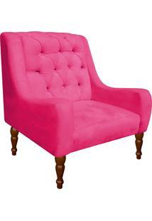 Poltrona Decorativa Maia Suede Rosa Barbie - D'Rossi