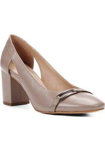 Scarpin Shoestock Salto Bloco Lezard Metal - Feminino-Cinza