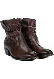 Bota Slouch Shoestock Couro Cano Curto Feminina - Feminino-Café