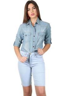 Bermuda Jeans Tradicional Clara Feminina - Feminino-Azul Claro