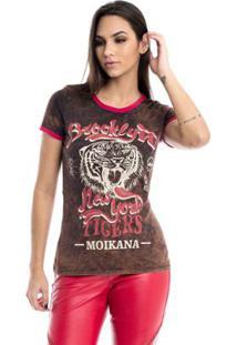 Camiseta Moikana Estonada Com Estampa Feminina - Feminino-Preto