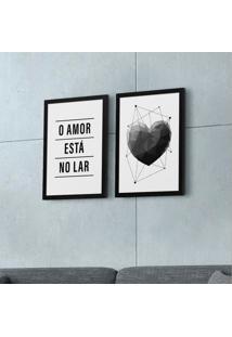 Conjunto Com 2 Quadros Decorativos O Amor Preto