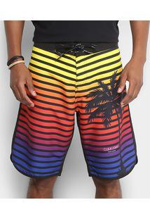 Bermuda D'Água Calvin Klein Listras Coqueiro Masculina - Masculino