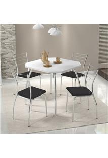 Mesa 1504 Branca Cromada Com 4 Cadeiras 1700 Preta Carraro