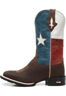 Bota Texana Ellest Bandeira Do Texas Bico Quadrado