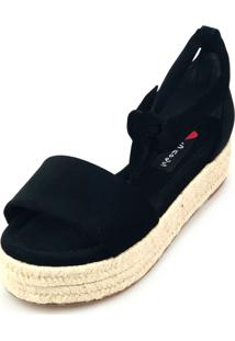 Avarca Espadrille Love Shoes Anabela Plataforma Corda Amarraçáo Preto - Tricae