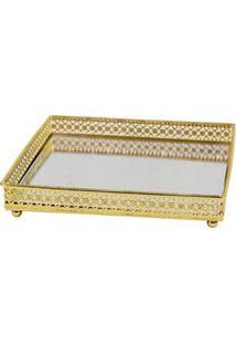 Bandeja Retangular Decorativa Btc Em Vidro Espelhado E Metal 3,5 X 31 X 16,5 Cm - Prata/Dourada