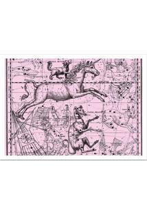 Quadro Decorativo Com Moldura Astrology Rosa E Branco (32X45)