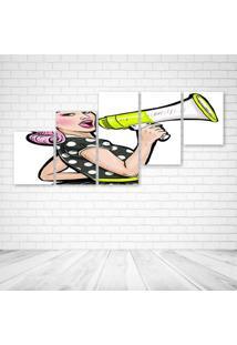 Quadro Decorativo - Megaphone Girl - Composto De 5 Quadros - Multicolorido - Dafiti