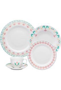 Aparelho De Jantar E Chá Oxford Flamingo Duquesa 30 Peças