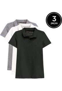Kit De 3 Camisas Polo Femininas De Várias Cores Pr