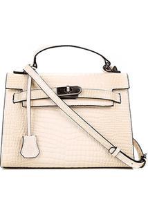 Bolsa Couro Capodarte Handbag Croco Feminina - Feminino-Bege