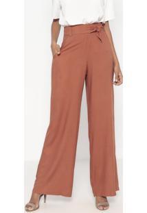 Calça Pantalona Com Faixa - Marrom - Wool Linewool Line