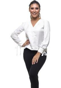 Blusa Clara Arruda Seda Square Laço Feminina - Feminino-Off White