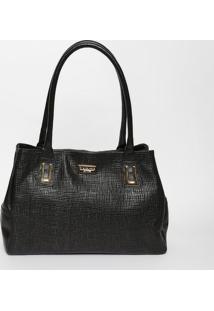 Bolsa Em Couro Texturizada Com Tag- Preta & Dourada-Di Marlys