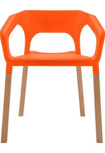 Cadeira Em Plastico Pp E Madeira De Faia - P&W-001E - Laranja - Orb