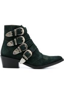 Toga Pulla Ankle Boot De Camurça Com Aplicação - Green