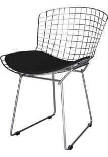 Cadeira Bertoia Assento Courrissimo Preto Cromada 4601 Sun House