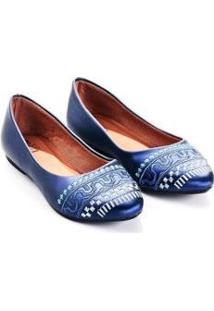 Sapatilha Perlato Mizzi Shoes Bordado Grego Feminina - Feminino-Marinho