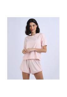Pijama Feminino Manga Curta Rosa