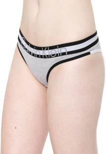Calcinha Calvin Klein Underwear Tanga Retrô Cinza